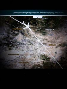 20191206_175200 Flugzeug - Entertainment centre - Landkarte - Mongolei - Wüste Gobi - Wüste Taklamakan - Asien