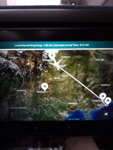 20191206_203926 - Flugzeug - Entertainment centre - Landkarte - Mongolei - China - Hongkong - Asien