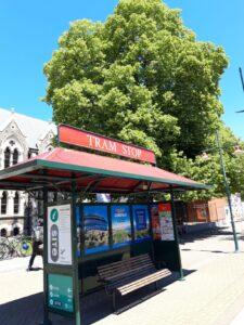 20191209_131900 - Neuseeland - Christchurch - historische Strassenbahn - Wartehäuschen