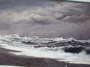 "20191219_114836 - Neuseeland - Canterbury - Timaru - Patiti Point Reservve - Gemålde William Ferrier (1855-1922) - Gemälde - ""Breakwater Timaru Running a Southerly Gale"""