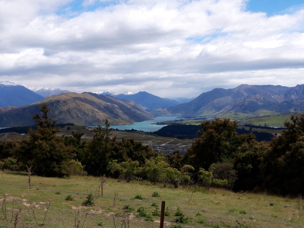 20191222_114516 - Neuseeland - Otago - Wanaka - Mount Iron - roche moutonnée - Rundhöcker - Panorama - östlicher Teil des Wanaka Sees - Mount Burke