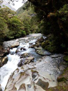 """20191225_105550 - Neuseeland - Fiordland - Te Anau (NZ) - Milford Sound - Cleddau Fluss - """"The Chasm"""" Schlucht - Höhle - Erosion"""