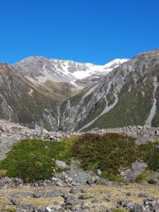 20191228_100739 - Neuseeland - Canterbury NZ - Mount Cook Village (NZ) - Moräne - Mt. Cook Range Bergkette - blauer Himmel