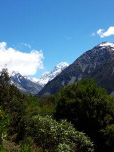 20191228_120252 - Neuseeland - Canterbury NZ - Mount Cook Village (NZ) - Aoraki/Mt. Cook (3.724M) - blauer himmel, weisse Wolken - Berge