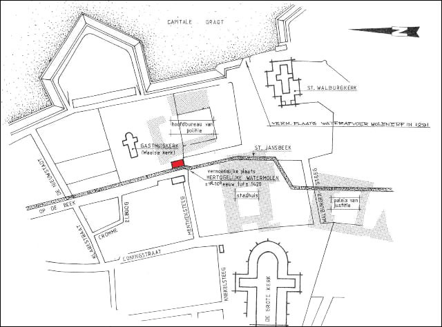 plattegrond van Arnhem met positie Hertogelijke Molen in de Beekstraat